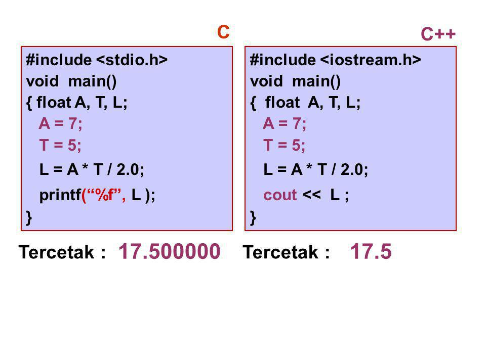 17.500000 17.5 C C++ Tercetak : Tercetak : #include <stdio.h>