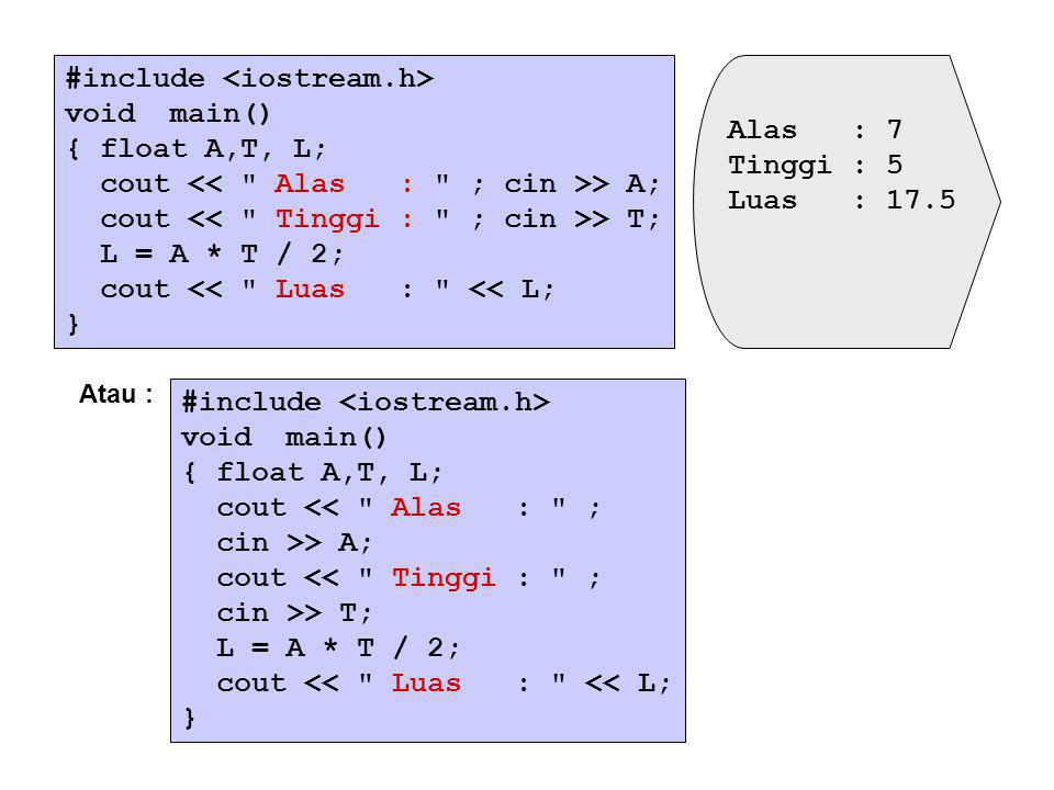 #include <iostream.h> void main() { float A,T, L;