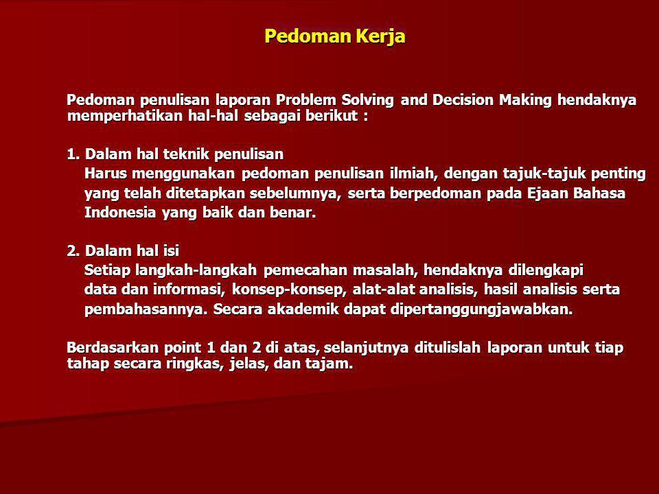 Pedoman Kerja Pedoman penulisan laporan Problem Solving and Decision Making hendaknya memperhatikan hal-hal sebagai berikut :