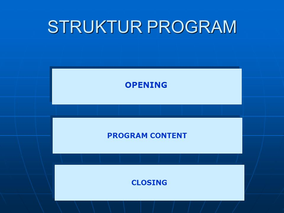 STRUKTUR PROGRAM OPENING PROGRAM CONTENT CLOSING