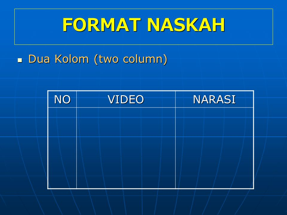 FORMAT NASKAH Dua Kolom (two column) NO VIDEO NARASI