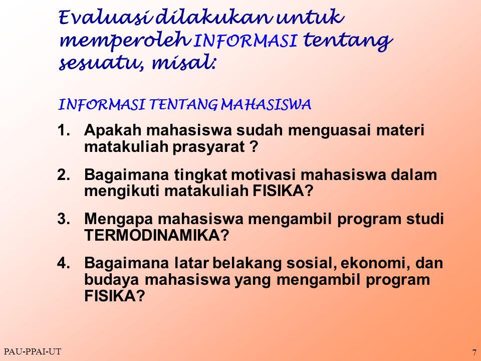 Evaluasi dilakukan untuk memperoleh INFORMASI tentang sesuatu, misal: INFORMASI TENTANG MAHASISWA