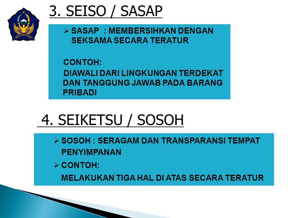 3. SEISO / SASAP 4. SEIKETSU / SOSOH