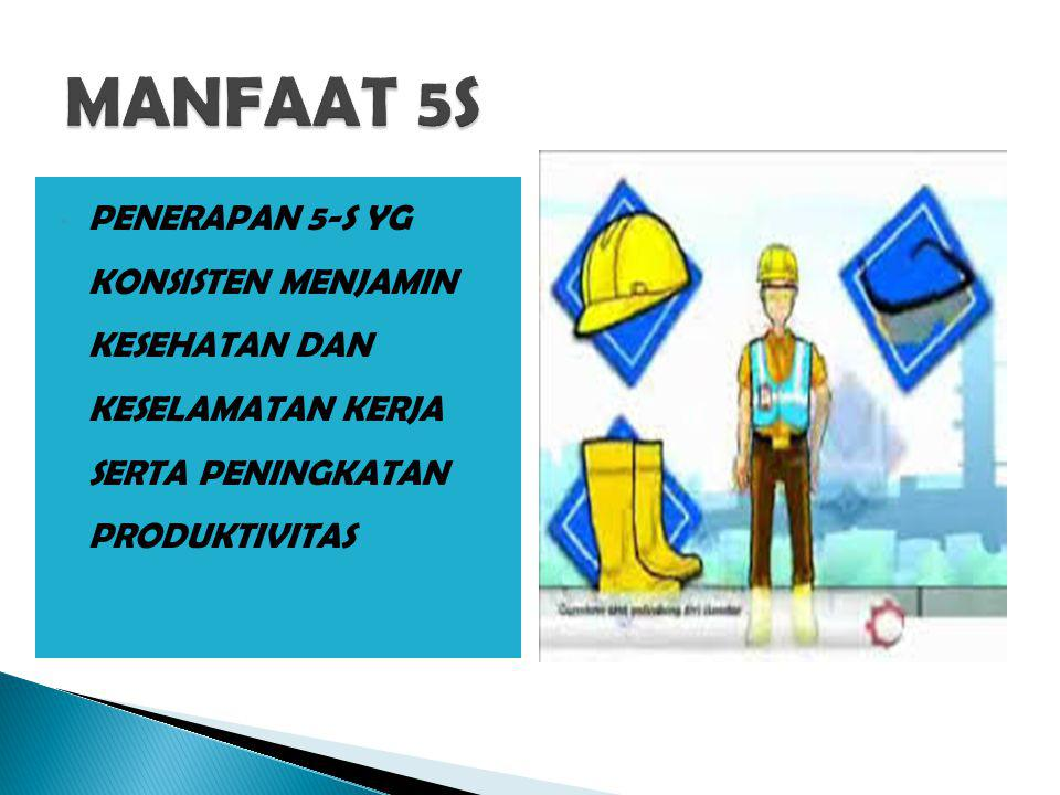 MANFAAT 5S PENERAPAN 5-S YG KONSISTEN MENJAMIN KESEHATAN DAN KESELAMATAN KERJA SERTA PENINGKATAN PRODUKTIVITAS.