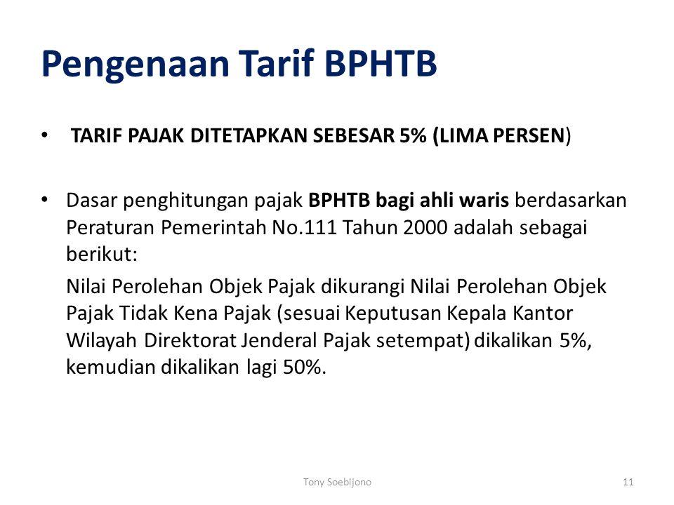 Pengenaan Tarif BPHTB TARIF PAJAK DITETAPKAN SEBESAR 5% (LIMA PERSEN)