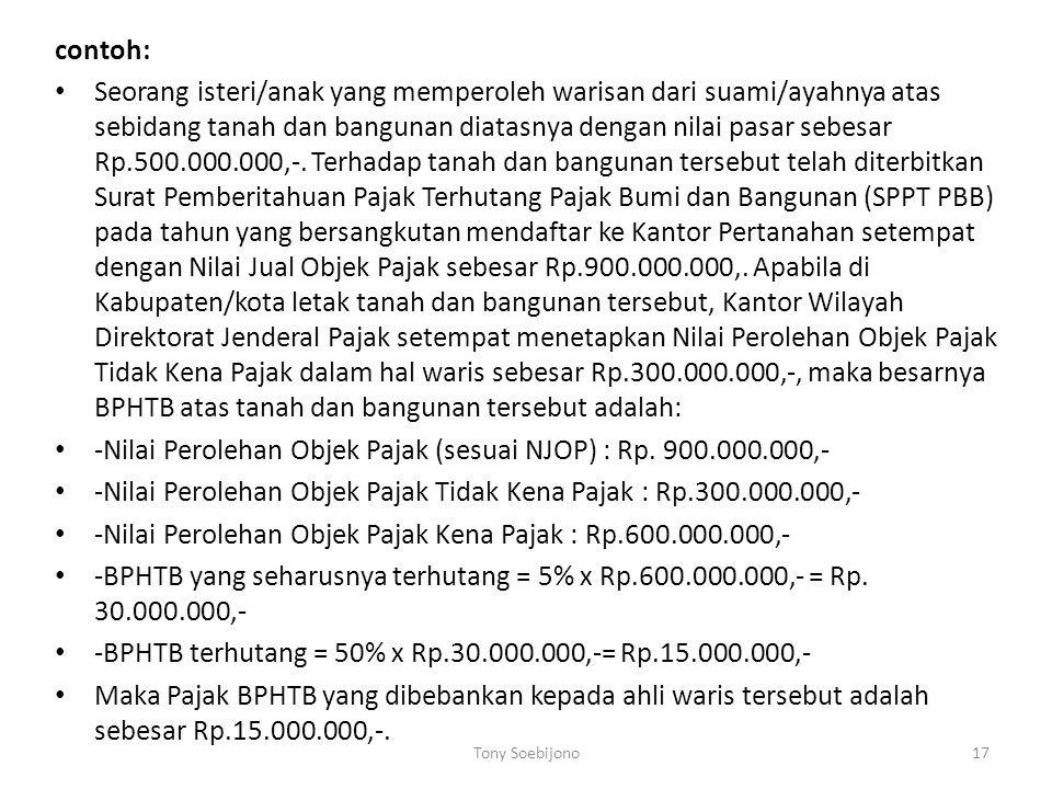 -Nilai Perolehan Objek Pajak (sesuai NJOP) : Rp. 900.000.000,-