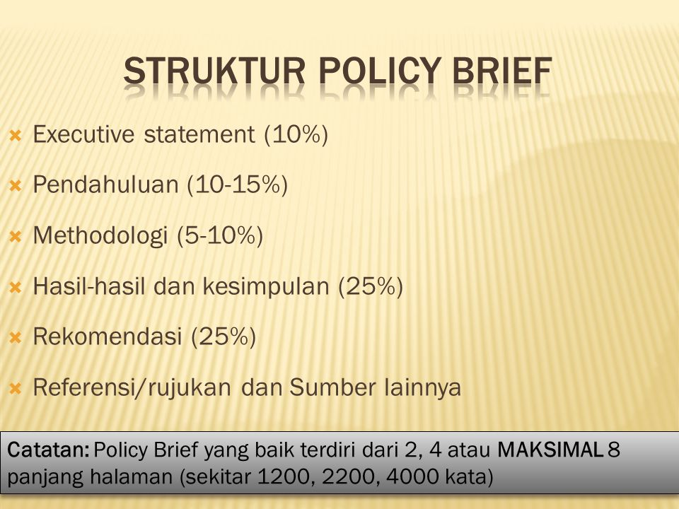 STRUKTUR POLICY BRIEF Executive statement (10%) Pendahuluan (10-15%)