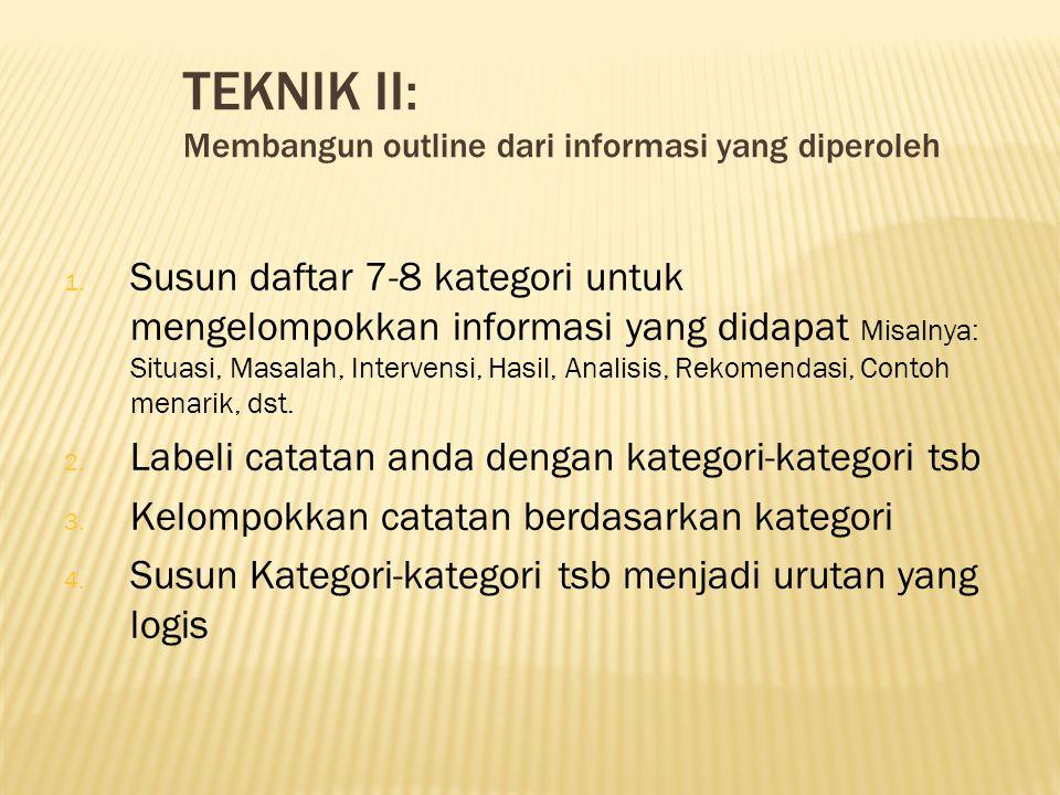 TEKNIK II: Membangun outline dari informasi yang diperoleh.