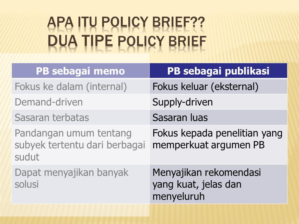 Apa itu Policy Brief Dua tipe Policy Brief