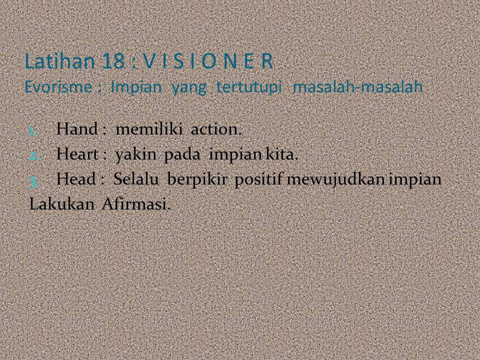 Latihan 18 : V I S I O N E R Evorisme : Impian yang tertutupi masalah-masalah