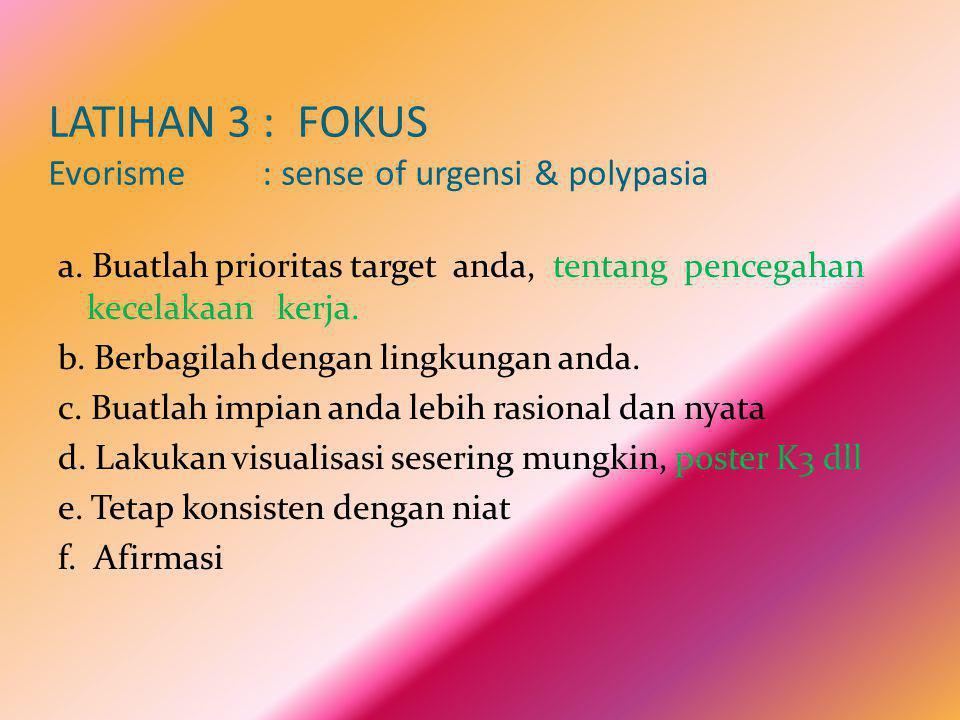 LATIHAN 3 : FOKUS Evorisme : sense of urgensi & polypasia