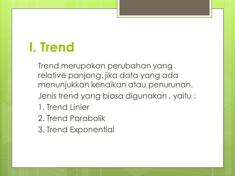 I. Trend Trend merupakan perubahan yang relative panjang, jika data yang ada menunjukkan kenaikan atau penurunan.