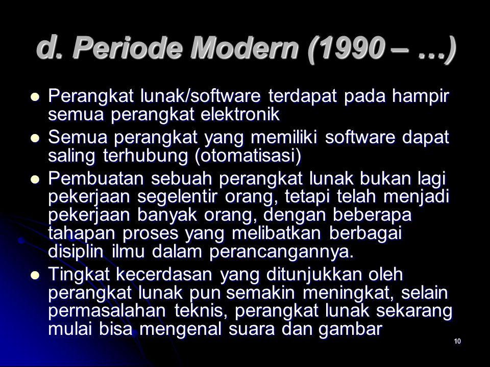 d. Periode Modern (1990 – …) Perangkat lunak/software terdapat pada hampir semua perangkat elektronik.