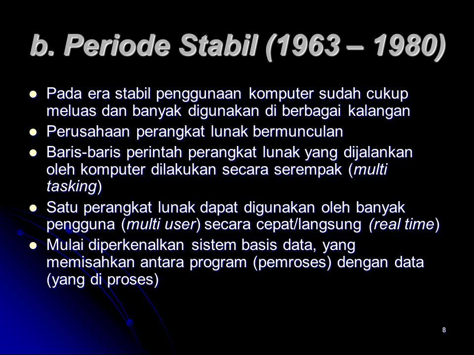 b. Periode Stabil (1963 – 1980) Pada era stabil penggunaan komputer sudah cukup meluas dan banyak digunakan di berbagai kalangan.