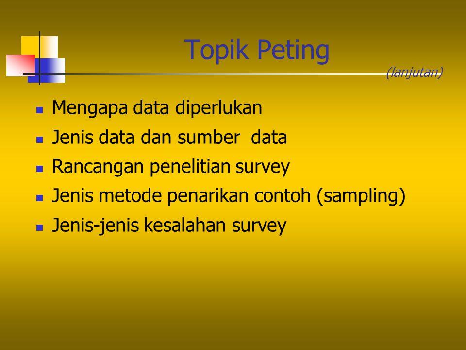 Topik Peting Mengapa data diperlukan Jenis data dan sumber data