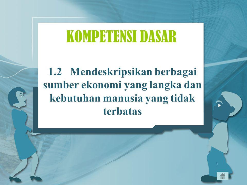 KOMPETENSI DASAR 1.2 Mendeskripsikan berbagai sumber ekonomi yang langka dan kebutuhan manusia yang tidak terbatas.