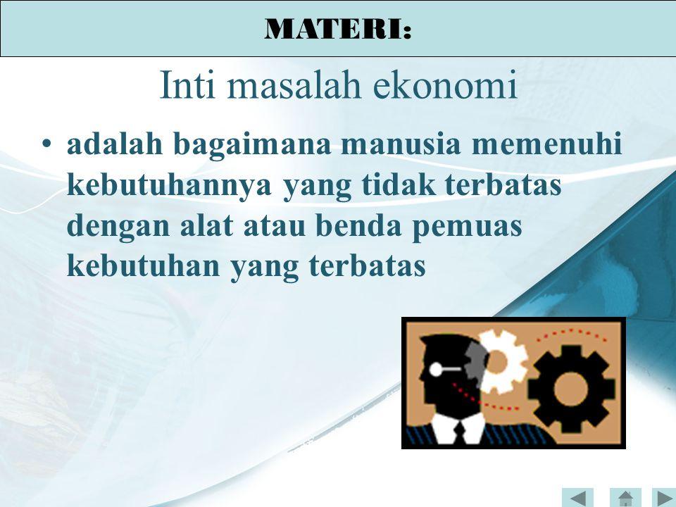 MATERI: Inti masalah ekonomi.