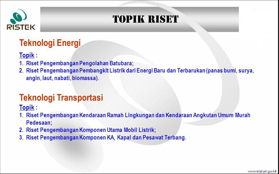 TOPIK RISET Teknologi Informasi dan Komunikasi Teknologi Hankam