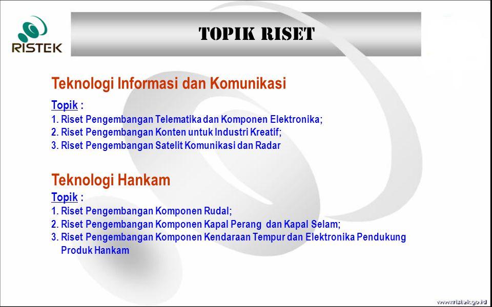TOPIK RISET Teknologi Material Maju Topik :