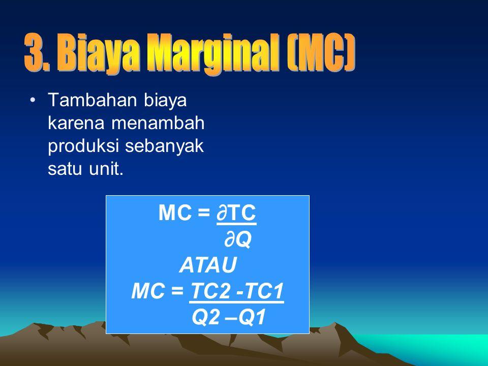3. Biaya Marginal (MC) MC = ∂TC ∂Q ATAU MC = TC2 -TC1 Q2 –Q1