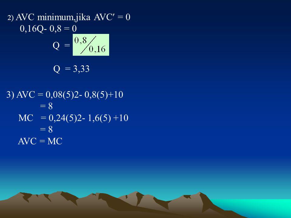 2) AVC minimum,jika AVC = 0