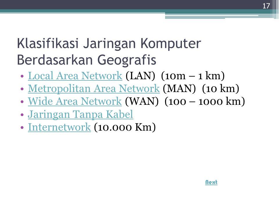 Klasifikasi Jaringan Komputer Berdasarkan Geografis