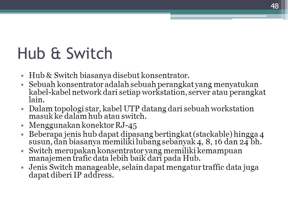 Hub & Switch Hub & Switch biasanya disebut konsentrator.