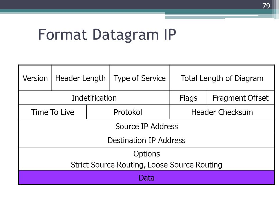 Format Datagram IP Version Header Length Type of Service