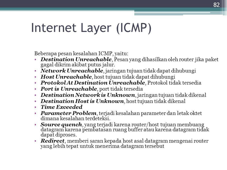 Internet Layer (ICMP) Beberapa pesan kesalahan ICMP, yaitu: