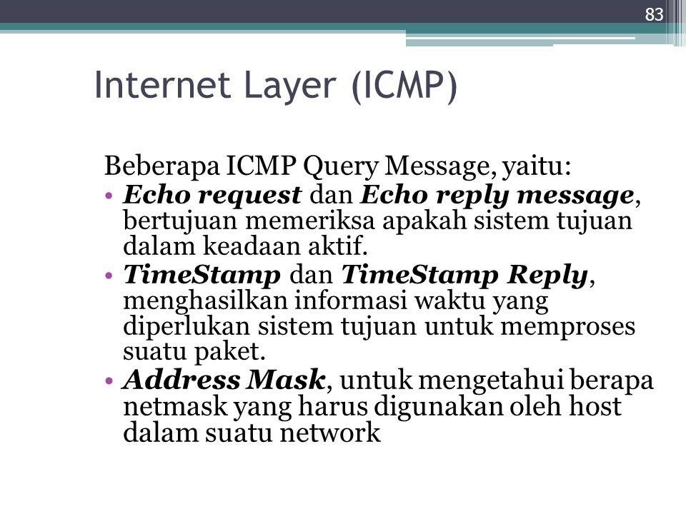 Internet Layer (ICMP) Beberapa ICMP Query Message, yaitu:
