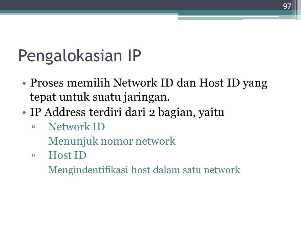 Pengalokasian IP Proses memilih Network ID dan Host ID yang tepat untuk suatu jaringan. IP Address terdiri dari 2 bagian, yaitu.