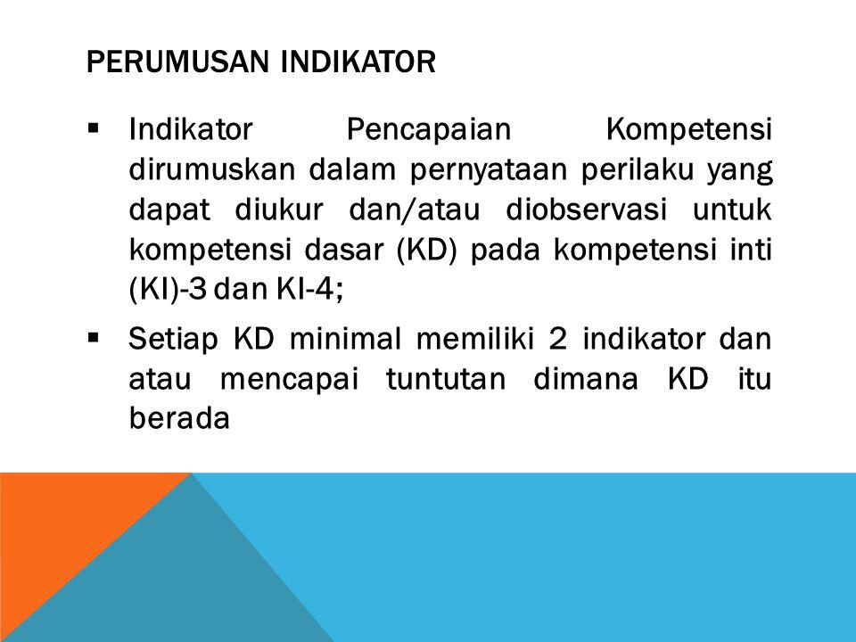 Perumusan Indikator