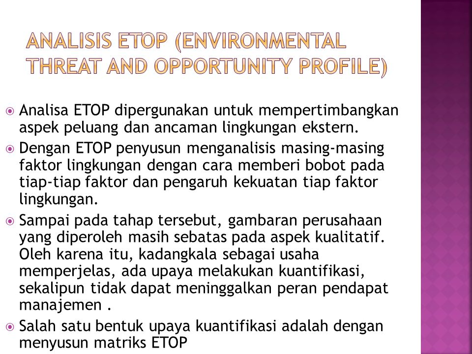 Analisis ETOP (Environmental Threat and Opportunity Profile)