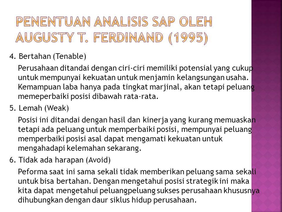 Penentuan analisis SAP oleh Augusty T. Ferdinand (1995)