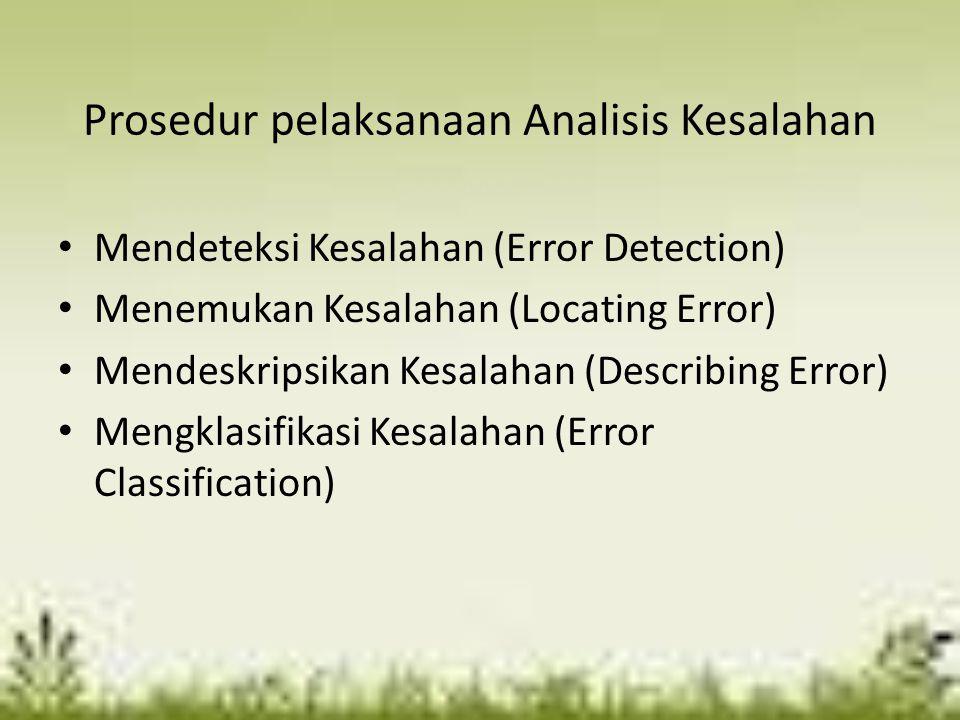 Prosedur pelaksanaan Analisis Kesalahan