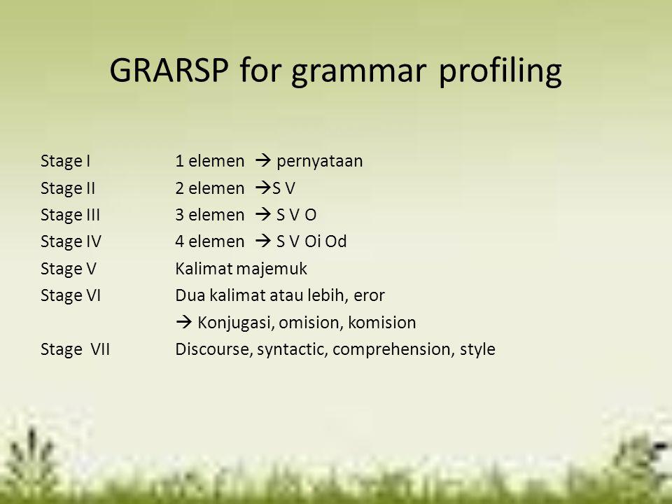GRARSP for grammar profiling
