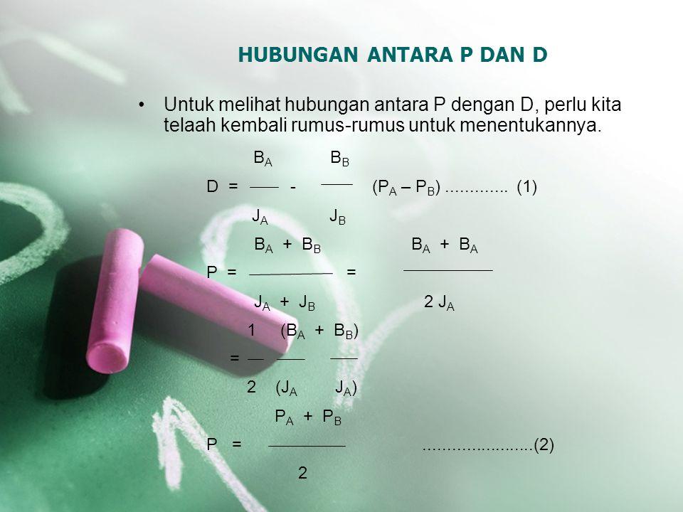 HUBUNGAN ANTARA P DAN D Untuk melihat hubungan antara P dengan D, perlu kita telaah kembali rumus-rumus untuk menentukannya.