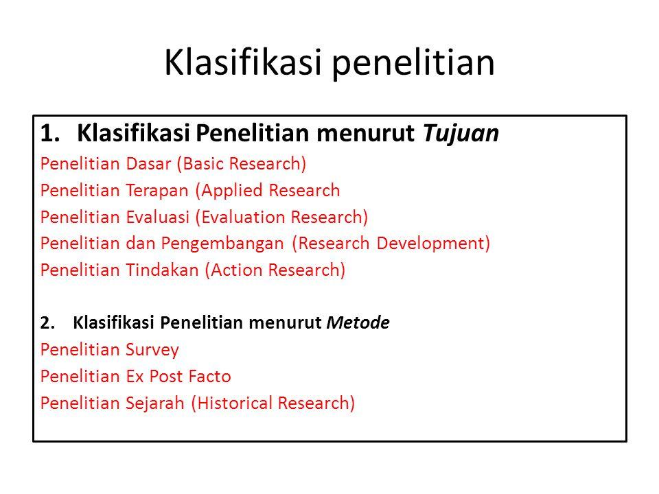 Klasifikasi penelitian