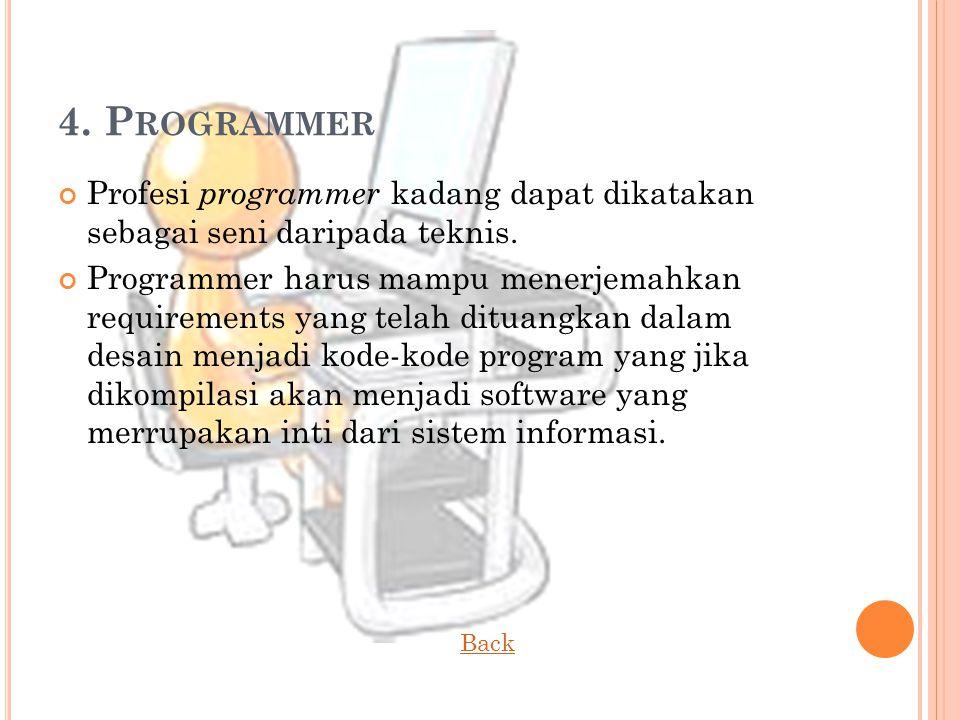 4. Programmer Profesi programmer kadang dapat dikatakan sebagai seni daripada teknis.