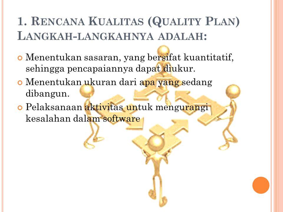 1. Rencana Kualitas (Quality Plan) Langkah-langkahnya adalah: