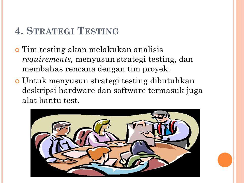 4. Strategi Testing Tim testing akan melakukan analisis requirements, menyusun strategi testing, dan membahas rencana dengan tim proyek.