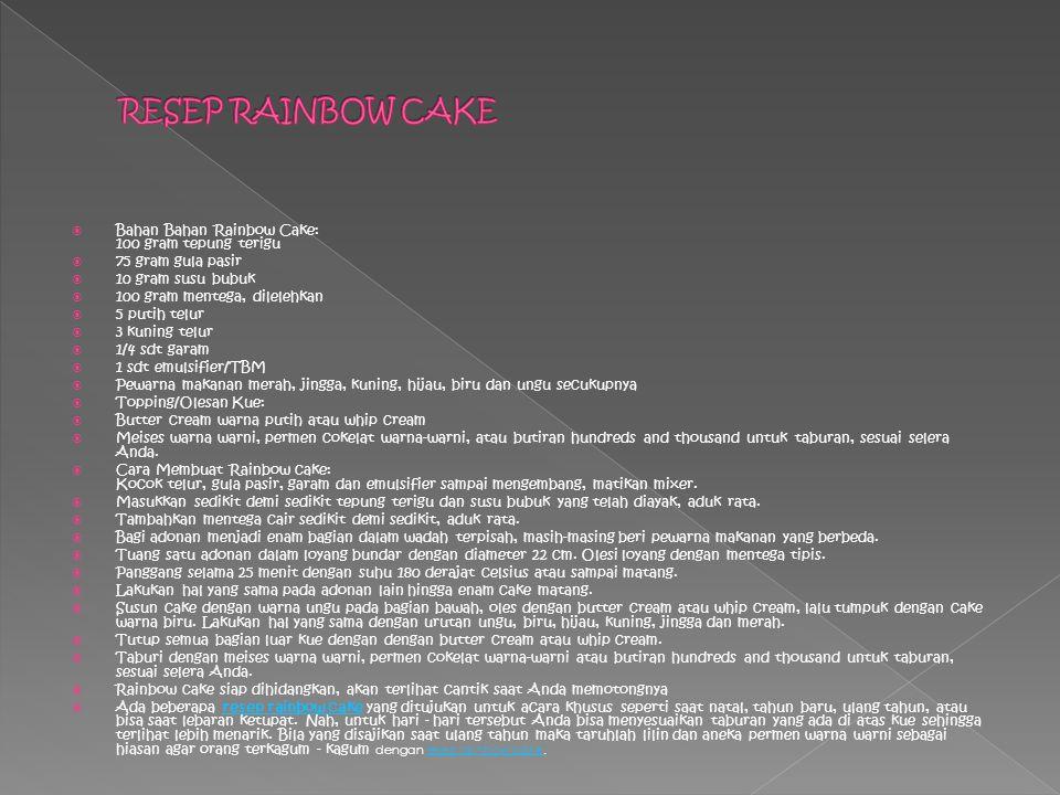 RESEP RAINBOW CAKE Bahan Bahan Rainbow Cake: 100 gram tepung terigu