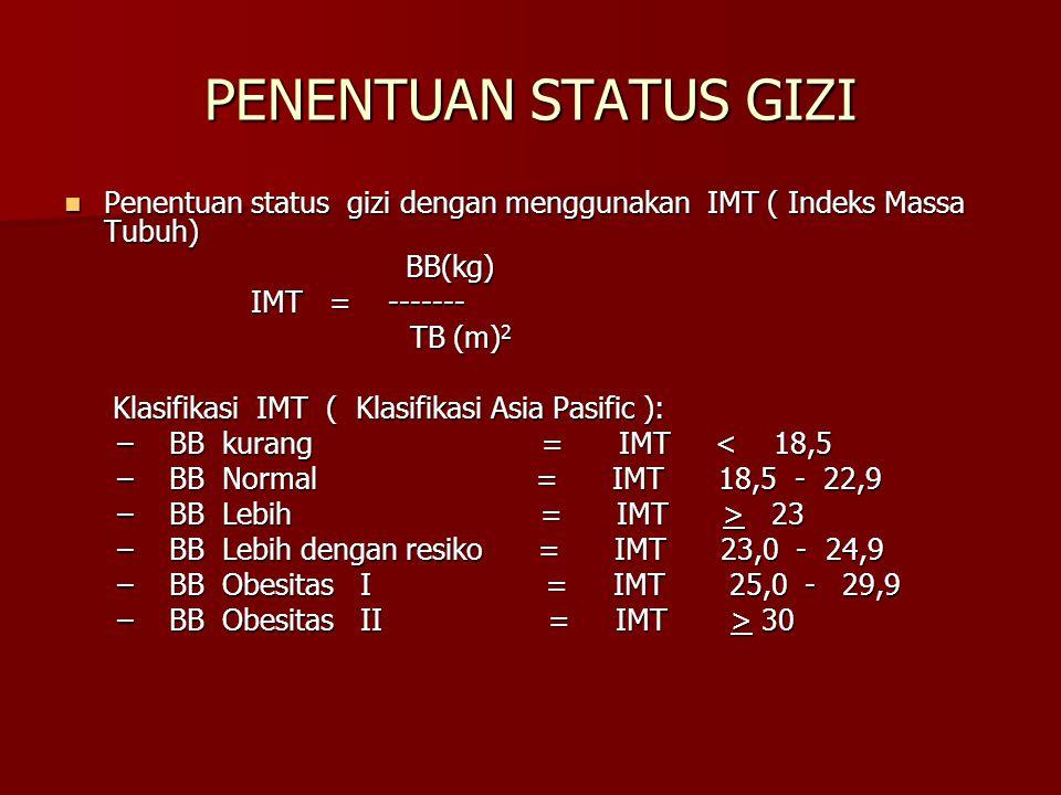 PENENTUAN STATUS GIZI Penentuan status gizi dengan menggunakan IMT ( Indeks Massa Tubuh) BB(kg) IMT = -------
