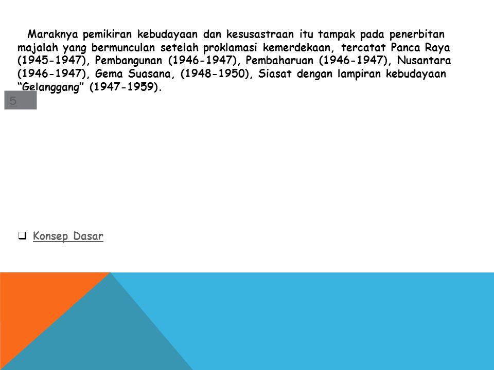 Maraknya pemikiran kebudayaan dan kesusastraan itu tampak pada penerbitan majalah yang bermunculan setelah proklamasi kemerdekaan, tercatat Panca Raya (1945-1947), Pembangunan (1946-1947), Pembaharuan (1946-1947), Nusantara (1946-1947), Gema Suasana, (1948-1950), Siasat dengan lampiran kebudayaan Gelanggang (1947-1959).
