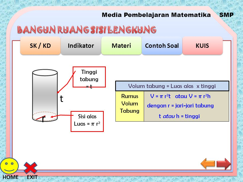 r t Tinggi tabung = t Volum tabung = Luas alas x tinggi