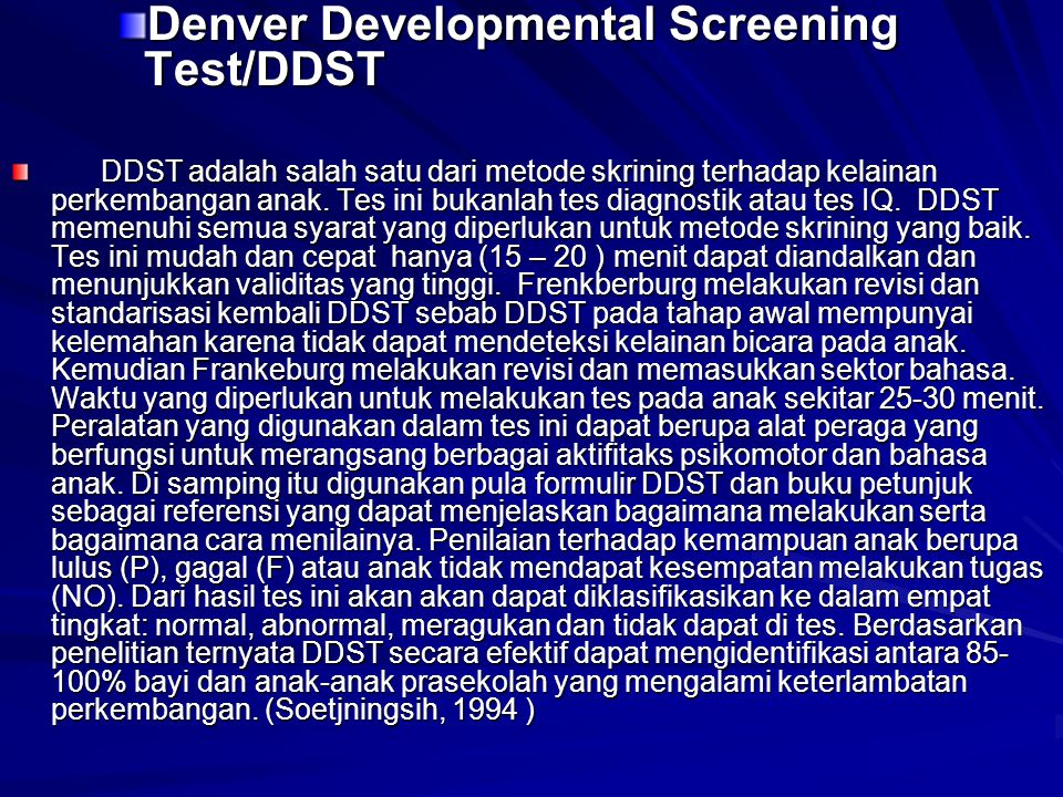 Denver Developmental Screening Test/DDST