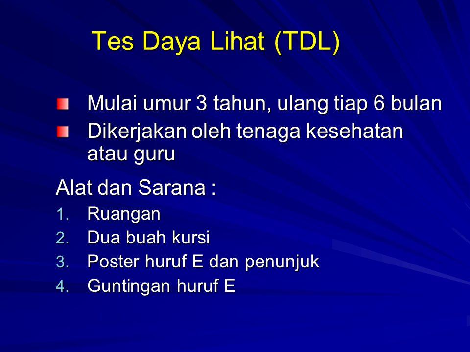 Tes Daya Lihat (TDL) Mulai umur 3 tahun, ulang tiap 6 bulan