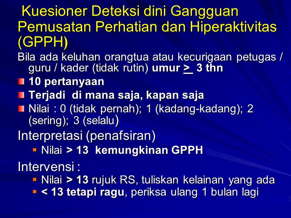 Kuesioner Deteksi dini Gangguan Pemusatan Perhatian dan Hiperaktivitas (GPPH)