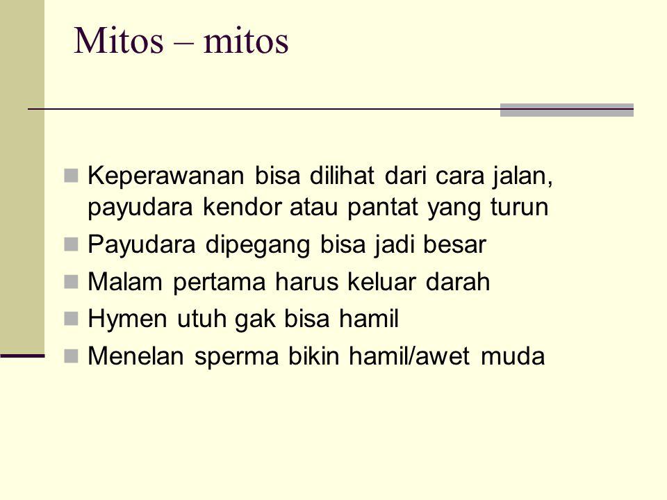 Mitos – mitos Keperawanan bisa dilihat dari cara jalan, payudara kendor atau pantat yang turun. Payudara dipegang bisa jadi besar.