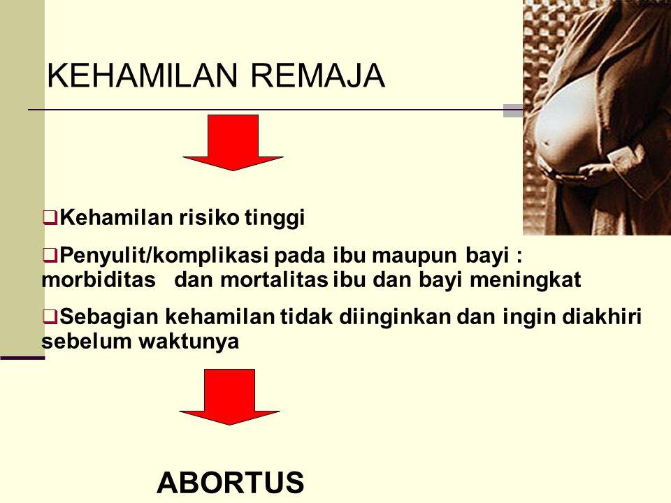 KEHAMILAN REMAJA ABORTUS Kehamilan risiko tinggi